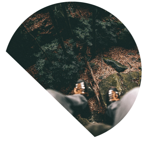High-angle shot of a man on a high rock looking down on a forest floor.