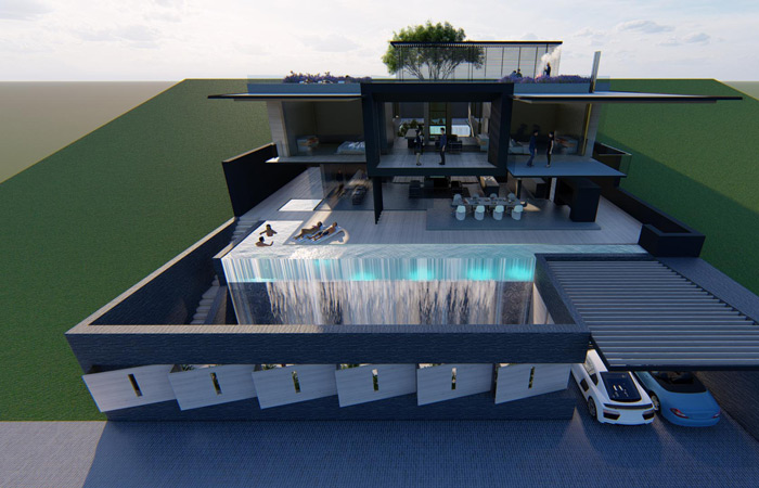 Front view of the Camps Bay Villa designed by Francois Malan Architects Stellenbosch
