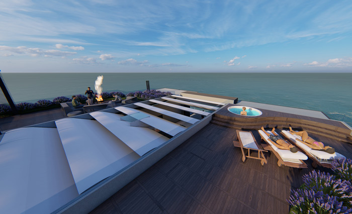 Rooftop view of the Camps Bay Villa overlooking the Atlantic Ocean. The villa is designed by Francois Malan Architects Stellenbosch
