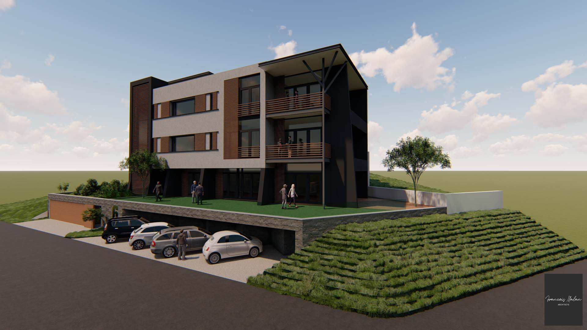 East view of a rendering to showcase the end-result of a house renovation in Gordon's Bay by Francois Malan Architects