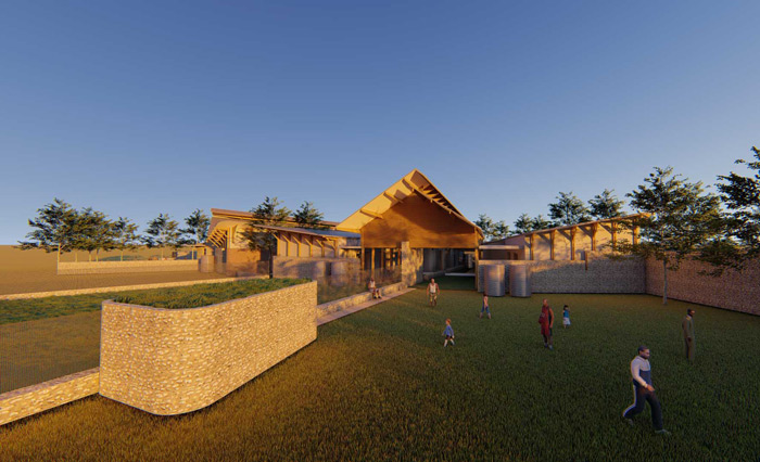 The community space of a school in a rural community in Malawi, Africa designed by Francois Malan Architects Stellenbosch