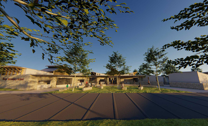 The Agora, or community space, of a school in a rural community in Malawi, Africa by Francois Malan Architects Stellenbosch